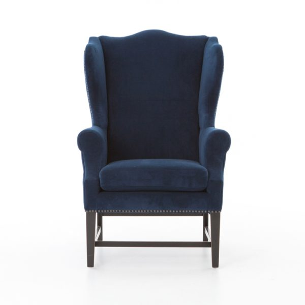 four hands navy wing chair 2