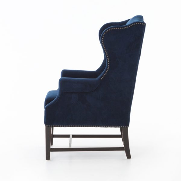 four hands navy wing chair 3