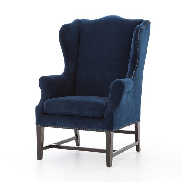 navy wing chair