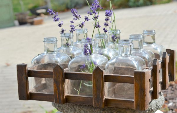9 Glass Bottles in Wood Crate