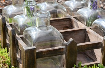 9 Glass Bottles in Wood Crate 3