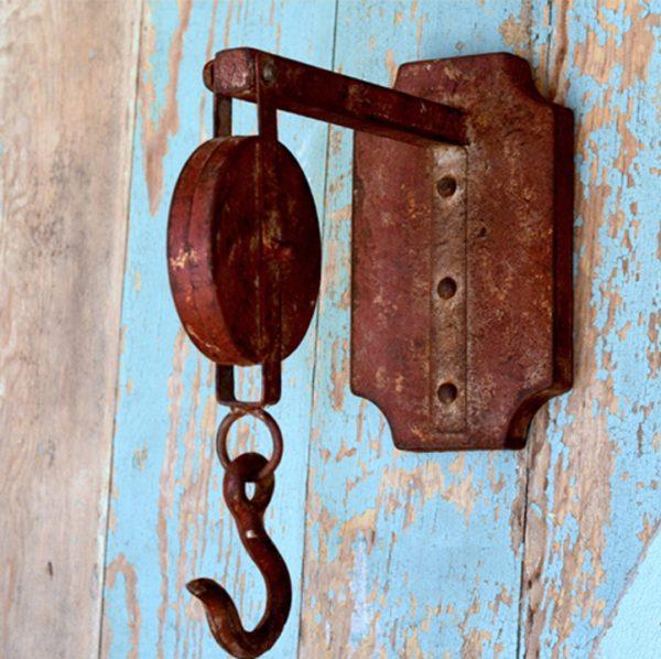 Rusted Pulley Bracket Hook