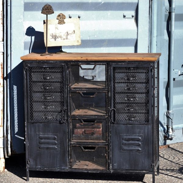 Distressed Metal Locker Cabinet
