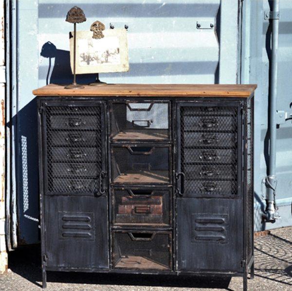 Distressed Metal Locker Cabinet