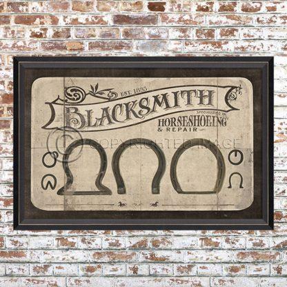 Framed Blacksmith Advertising Print