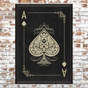 Framed Black Ace of Spades Print