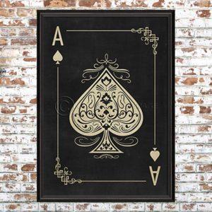 Framed Black Ace of Spades Print