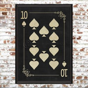 Framed Black Ten of Spades Print