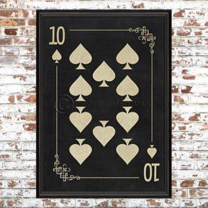 Framed Black Ten of Spades Print
