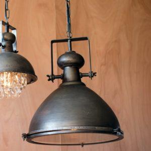 kalalou Metal Warehouse Pendant Light with Glass Cover