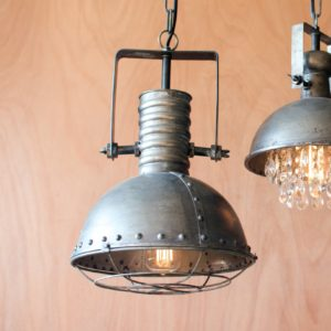kalalou Metal Warehouse Pendant Light with Cage