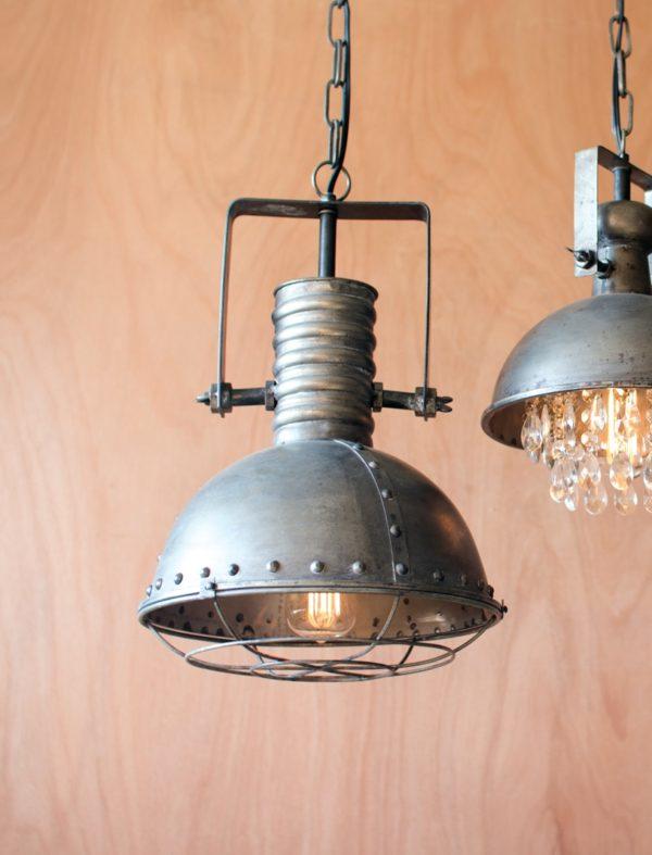 kalalou Metal Warehouse Pendant Light with Cage