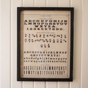 framed alphabet print under glass