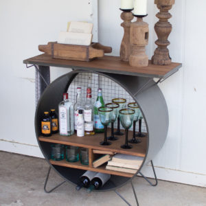 round metal and wood media console