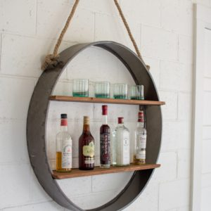 circle iron and wood hanging shelf