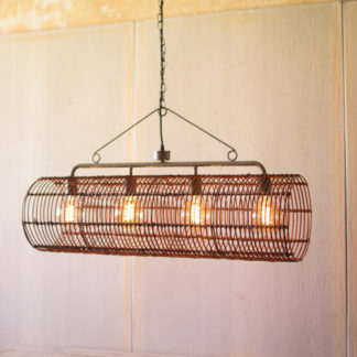 kalalou rustic metal and wicker pendant light