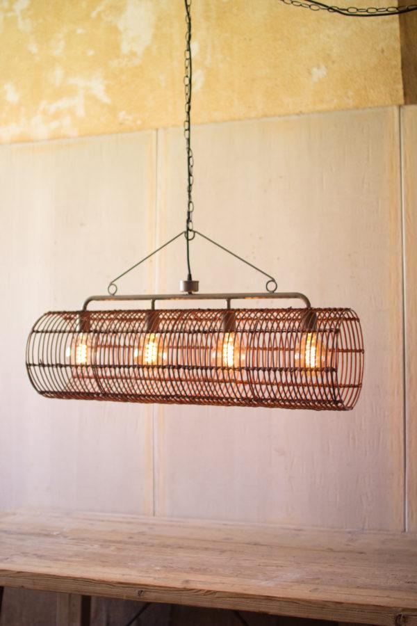 kalalou rustic metal and wicker pendant light