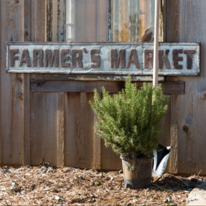 vintage metal farmers market sign