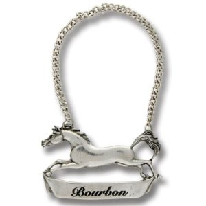 Pewter Galloping Horse Decanter Tags