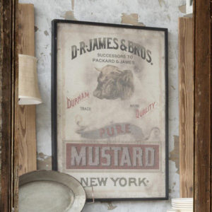 framed mustard print on canvass