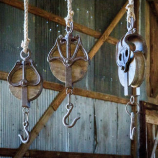 wooden pulley display hooks