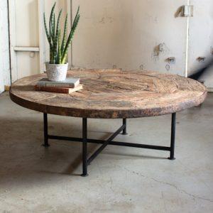 kalalou antique wooden wheel coffee table and iron base