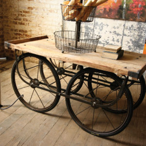 Reclaimed Vintage Wood and Iron Vendor Cart