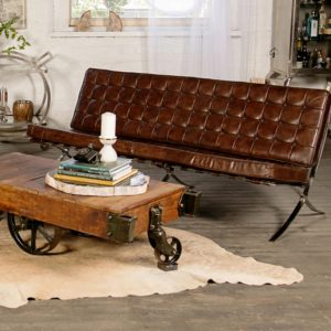 vintage tufted leather 3 seater