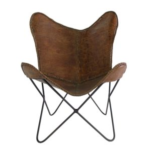 Distressed Leather Butterfly Chair