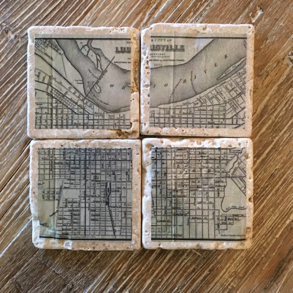 louisville map drink coasters