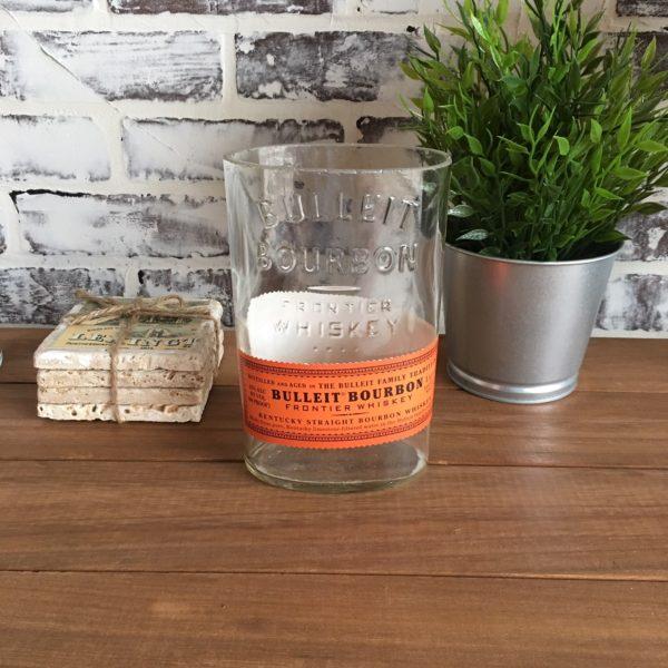 recycled bulleit bourbon cut bottle