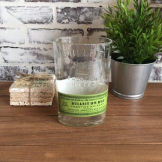 recycyled bulleit rye bourbon cut bottle