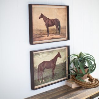Framed Horse Prints Under Glass (Set of 2)