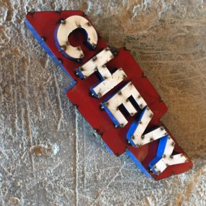 Recycled Tin Chevy Sign