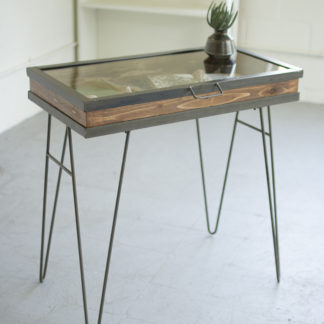 Display Table with Hinged Glass Top