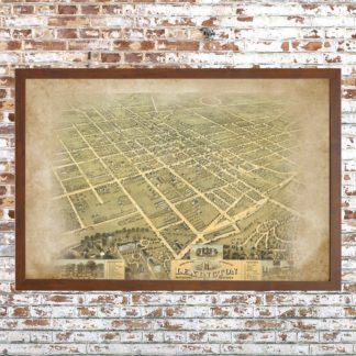 Distressed Birdseye View Lexington Map (Framed)
