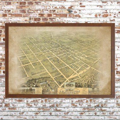 Distressed Birdseye View Lexington Map (Framed)