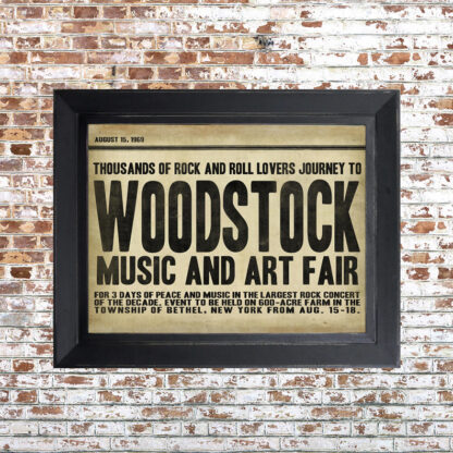 Distressed Woodstock Framed Print